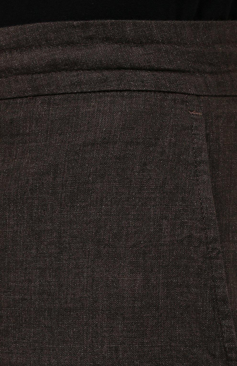 Мужские льняные шорты ERMENEGILDO ZEGNA коричневого цвета, арт. UUI32/TB11   Фото 5