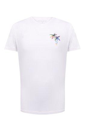 Мужская хлопковая футболка DEREK ROSE белого цвета, арт. 3054-RIPL004   Фото 1 (Рукава: Короткие; Длина (для топов): Стандартные; Материал внешний: Хлопок; Кросс-КТ: Пляж; Мужское Кросс-КТ: Футболка-пляж; Принт: С принтом; Стили: Кэжуэл)
