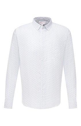 Мужская льняная рубашка DEREK ROSE белого цвета, арт. 9820-MILA012 | Фото 1 (Материал внешний: Лен; Рукава: Длинные; Длина (для топов): Стандартные; Принт: С принтом; Воротник: Кент; Случай: Повседневный; Манжеты: На пуговицах; Стили: Кэжуэл)