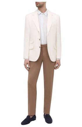Мужская льняная рубашка DEREK ROSE белого цвета, арт. 9820-MILA012 | Фото 2 (Материал внешний: Лен; Рукава: Длинные; Длина (для топов): Стандартные; Принт: С принтом; Воротник: Кент; Случай: Повседневный; Манжеты: На пуговицах; Стили: Кэжуэл)