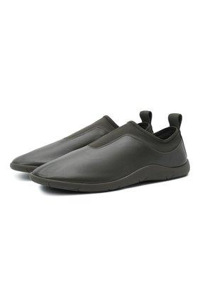 Мужские кожаные кроссовки BOTTEGA VENETA хаки цвета, арт. 651305/V03V1 | Фото 1 (Материал внутренний: Натуральная кожа; Подошва: Плоская; Стили: Гранж)