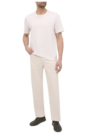Мужские кожаные кроссовки BOTTEGA VENETA хаки цвета, арт. 651305/V03V1 | Фото 2 (Материал внутренний: Натуральная кожа; Подошва: Плоская; Стили: Гранж)