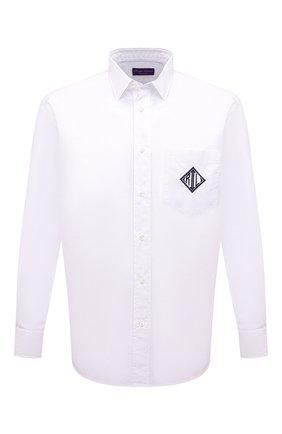 Мужская хлопковая рубашка RALPH LAUREN белого цвета, арт. 790827746 | Фото 1