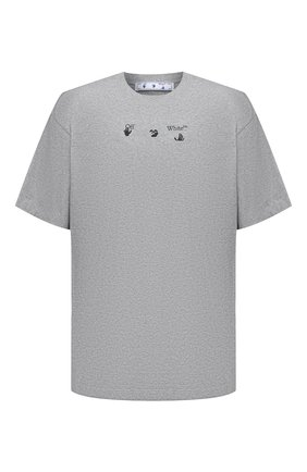Мужская хлопковая футболка OFF-WHITE серого цвета, арт. 0MAA038S21JER001 | Фото 1