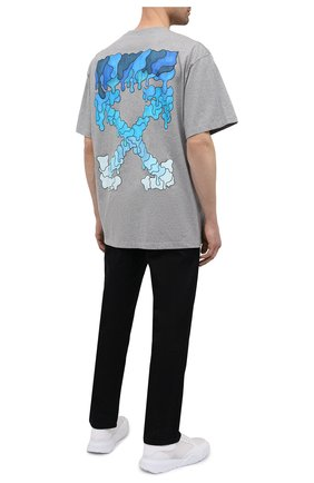 Мужская хлопковая футболка OFF-WHITE серого цвета, арт. 0MAA038S21JER001 | Фото 2