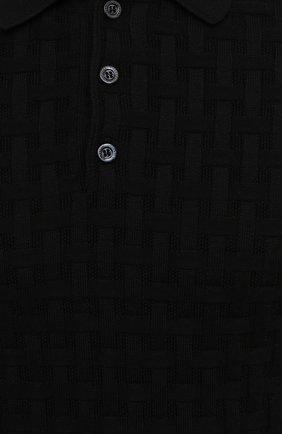 Мужское поло из шелка и хлопка IL BORGO CASHMERE черного цвета, арт. 56-1991-01G0 | Фото 5 (Застежка: Пуговицы; Материал внешний: Шелк, Хлопок; Рукава: Короткие; Длина (для топов): Стандартные; Кросс-КТ: Трикотаж; Стили: Кэжуэл)
