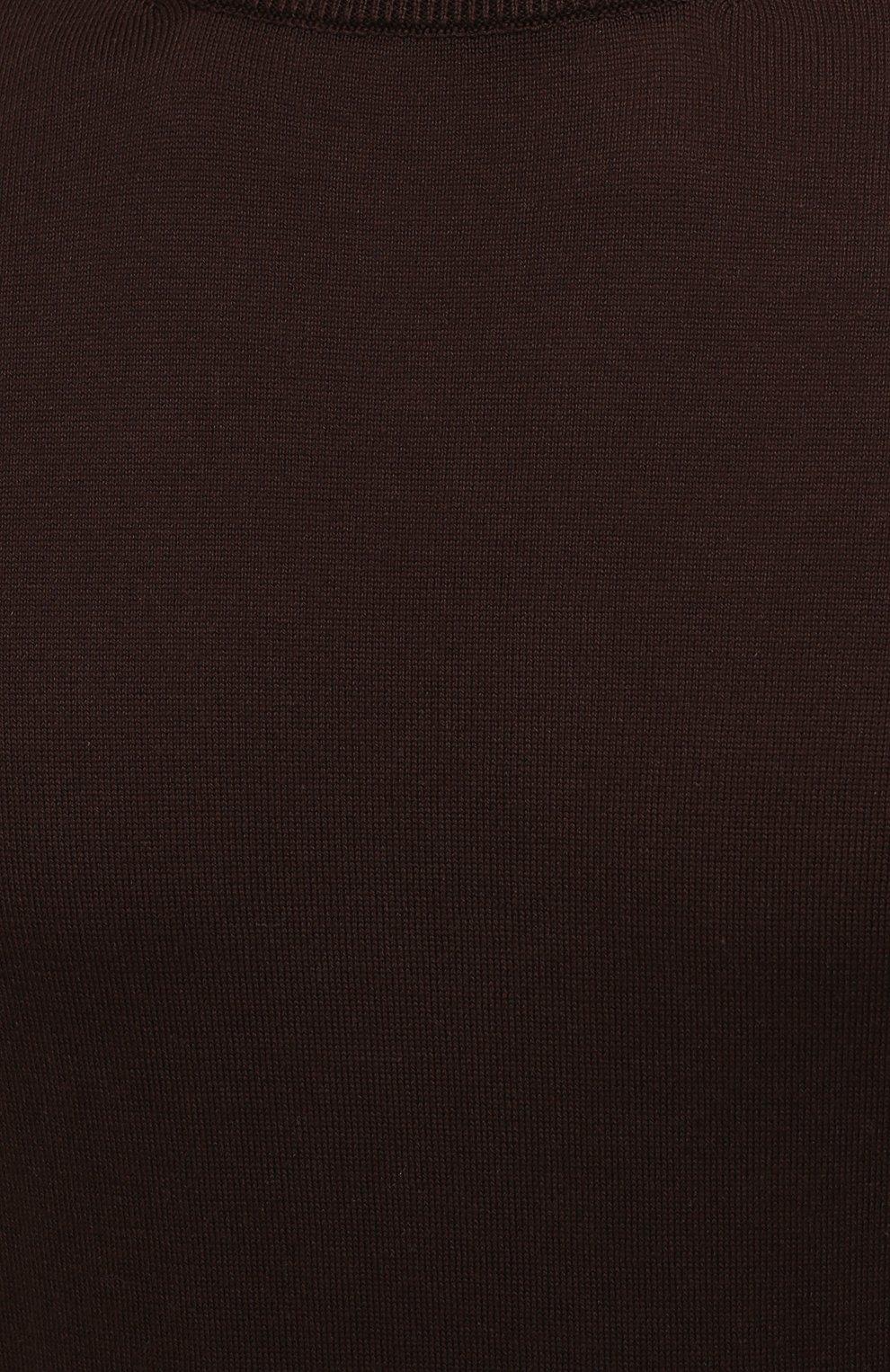 Мужской хлопковый джемпер IL BORGO CASHMERE темно-коричневого цвета, арт. 55-854G0 | Фото 5 (Мужское Кросс-КТ: Джемперы; Принт: Без принта; Рукава: Короткие; Длина (для топов): Стандартные; Материал внешний: Хлопок; Вырез: Круглый; Стили: Кэжуэл)