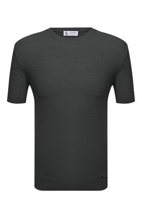 Мужской джемпер из хлопка и шелка IL BORGO CASHMERE темно-серого цвета, арт. 55-821G0 | Фото 1