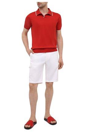 Мужские кожаные шлепанцы GIORGIO ARMANI красного цвета, арт. X2P069/XD225 | Фото 2