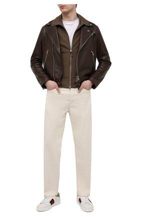 Мужские кожаные кеды ace GUCCI белого цвета, арт. 649052/0FI60 | Фото 2