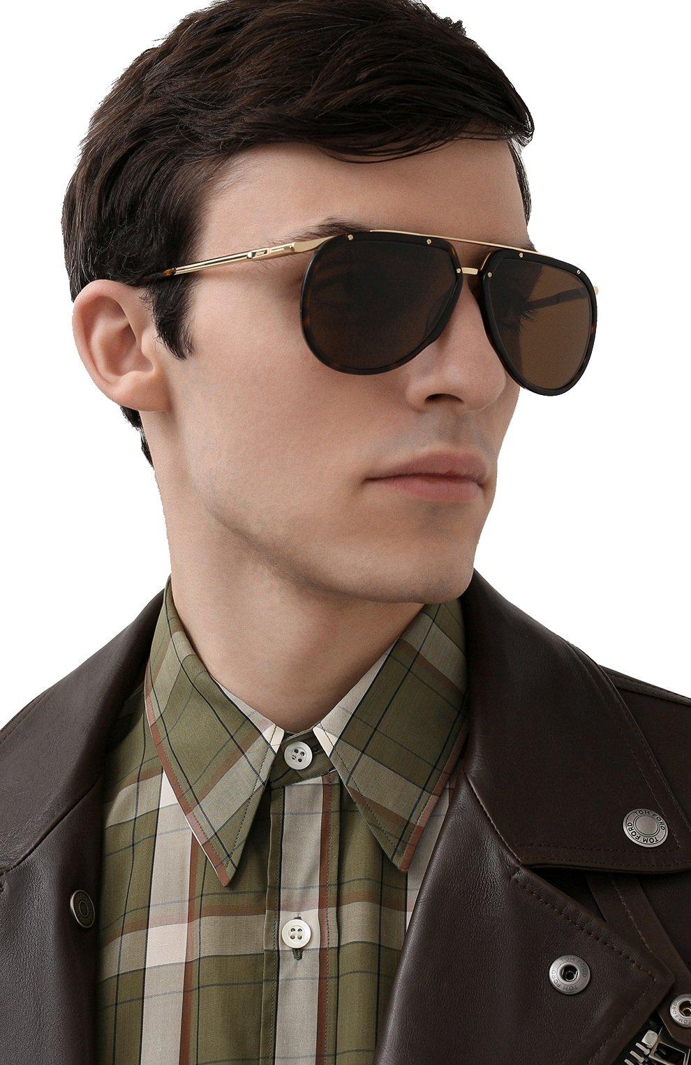 Мужские солнцезащитные очки BRIONI светло-коричневого цвета, арт. 0DC900/P3ZAC   Фото 2