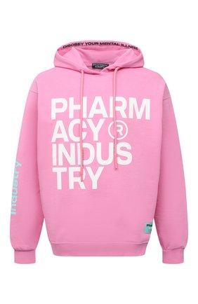Мужской хлопковое худи PHARMACY INDUSTRY розового цвета, арт. PHM226 | Фото 1