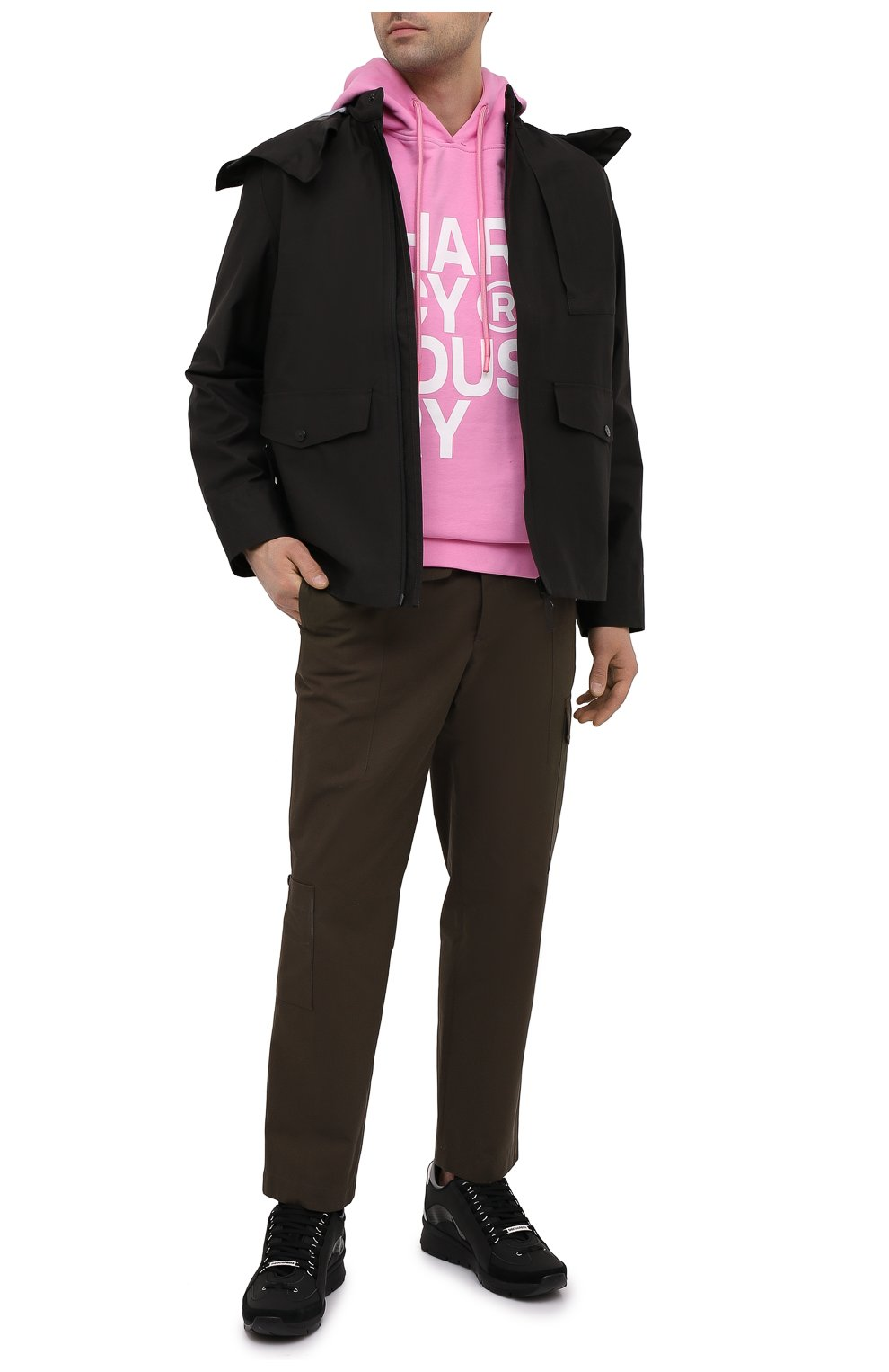 Мужской хлопковое худи PHARMACY INDUSTRY розового цвета, арт. PHM226 | Фото 2