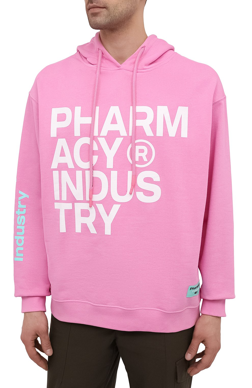 Мужской хлопковое худи PHARMACY INDUSTRY розового цвета, арт. PHM226 | Фото 3