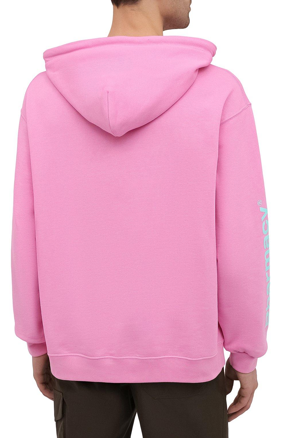 Мужской хлопковое худи PHARMACY INDUSTRY розового цвета, арт. PHM226 | Фото 4
