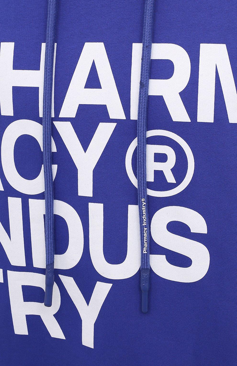 Мужской хлопковое худи PHARMACY INDUSTRY синего цвета, арт. PHM226   Фото 5