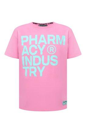 Мужская хлопковая футболка PHARMACY INDUSTRY розового цвета, арт. PHM227 | Фото 1