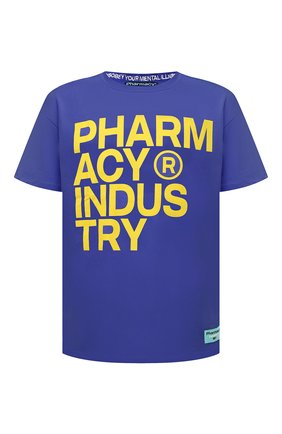 Мужская хлопковая футболка PHARMACY INDUSTRY синего цвета, арт. PHM227 | Фото 1