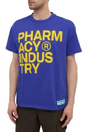 Мужская хлопковая футболка PHARMACY INDUSTRY синего цвета, арт. PHM227 | Фото 3