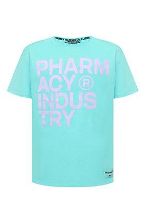 Мужская хлопковая футболка PHARMACY INDUSTRY голубого цвета, арт. PHM227 | Фото 1