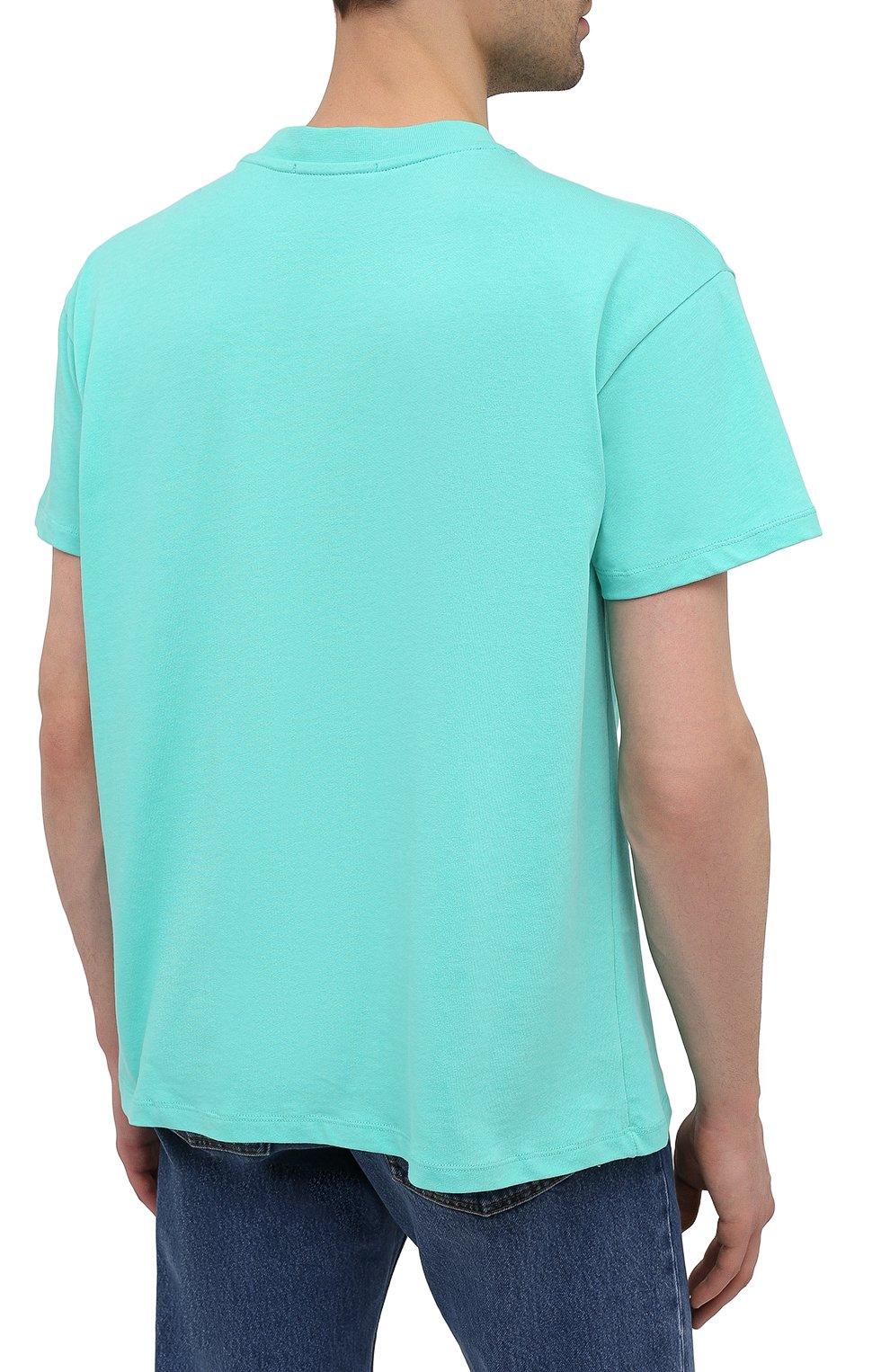 Мужская хлопковая футболка PHARMACY INDUSTRY голубого цвета, арт. PHM227 | Фото 4
