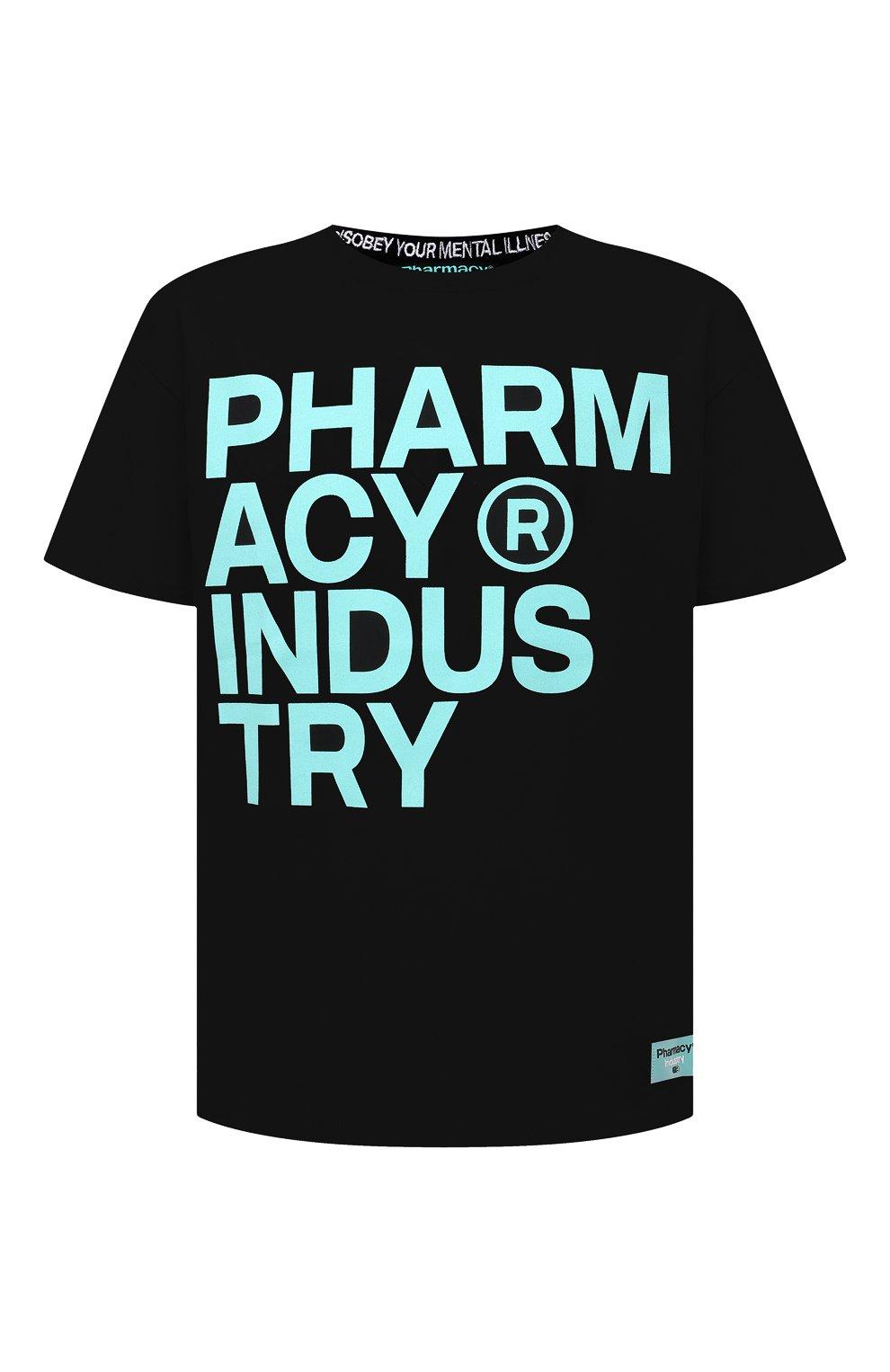 Мужская хлопковая футболка PHARMACY INDUSTRY черного цвета, арт. PHM227   Фото 1