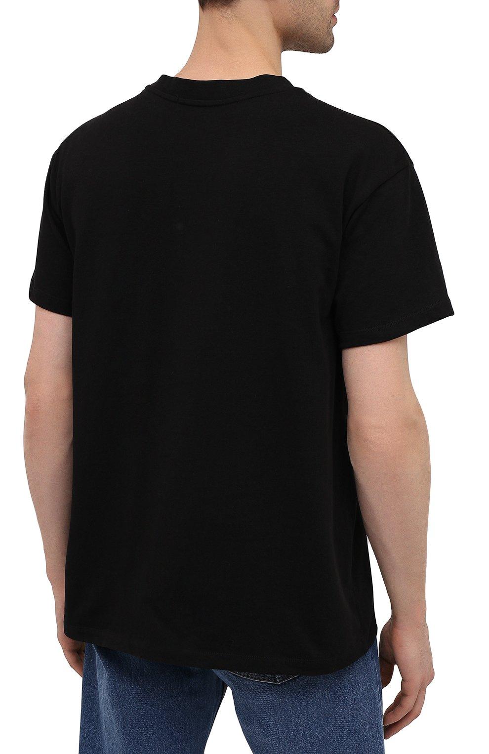 Мужская хлопковая футболка PHARMACY INDUSTRY черного цвета, арт. PHM227   Фото 4