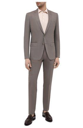 Мужской костюм из шерсти и шелка BOSS бежевого цвета, арт. 50450512 | Фото 1