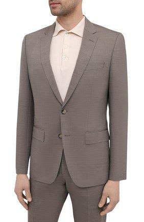 Мужской костюм из шерсти и шелка BOSS бежевого цвета, арт. 50450512 | Фото 2