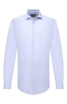 Мужская сорочка из хлопка и льна BOSS голубого цвета, арт. 50451326   Фото 1