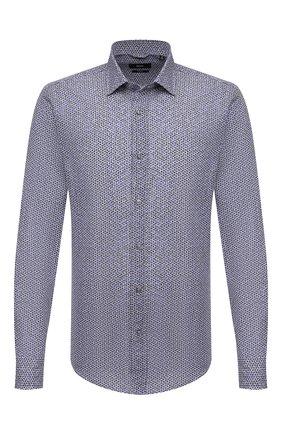 Мужская сорочка из хлопка и льна BOSS синего цвета, арт. 50451272   Фото 1