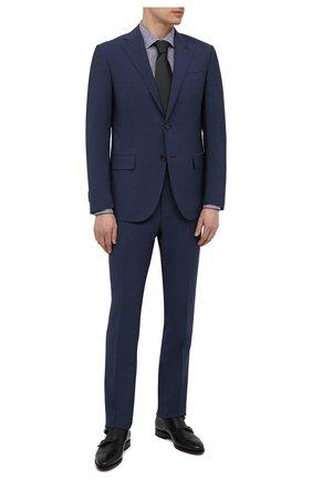 Мужская сорочка из хлопка и льна BOSS синего цвета, арт. 50451272   Фото 2