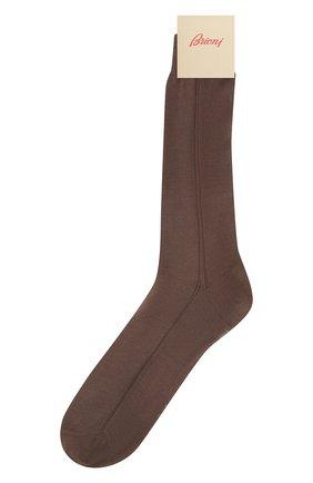 Мужские шелковые носки BRIONI коричневого цвета, арт. 0VMC/P3Z21 | Фото 1 (Материал внешний: Шелк; Кросс-КТ: бельё)