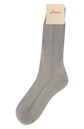 Мужские шелковые носки BRIONI серого цвета, арт. 0VMC/P3Z21 | Фото 1 (Материал внешний: Шелк; Кросс-КТ: бельё)