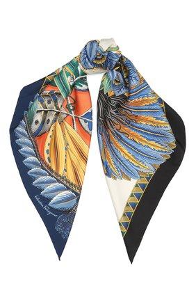 Женский шелковый платок SALVATORE FERRAGAMO синего цвета, арт. Z-0739871   Фото 1