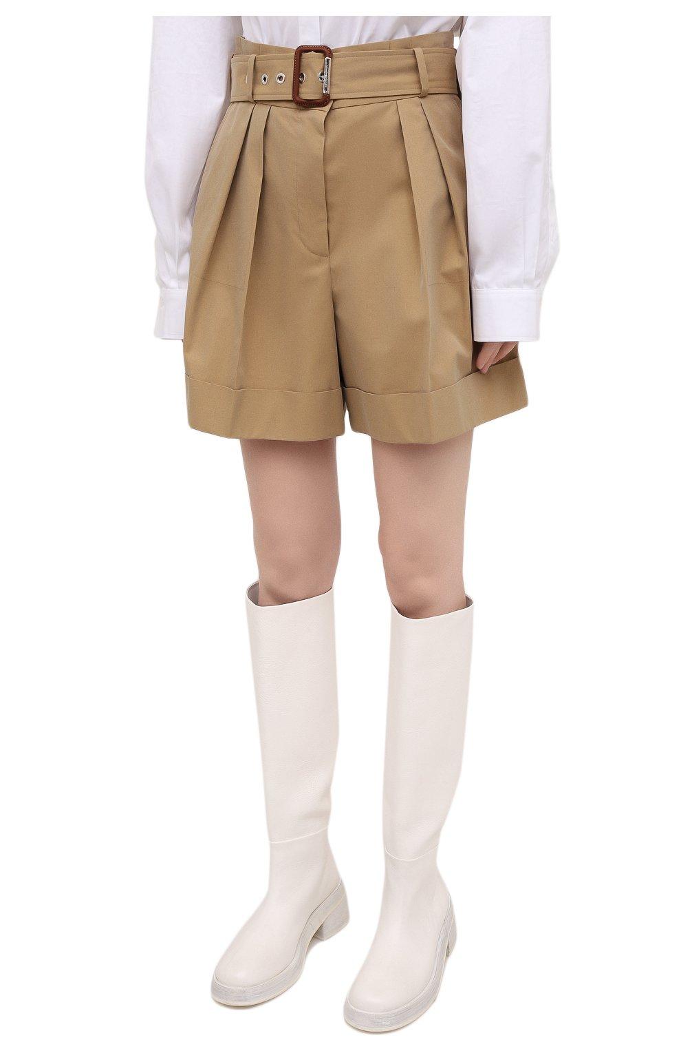 Женские хлопковые шорты ALEXANDER MCQUEEN бежевого цвета, арт. 654559/QFAAK | Фото 3