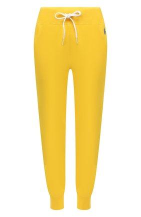 Женские хлопковые джоггеры POLO RALPH LAUREN желтого цвета, арт. 211780215   Фото 1