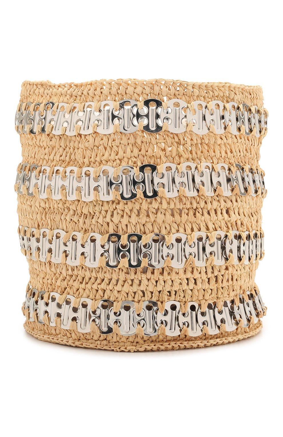 Женская сумка 1969 PACO RABANNE бежевого цвета, арт. 21PSS0227MET152 | Фото 1 (Сумки-технические: Сумки через плечо; Ремень/цепочка: С цепочкой, На ремешке; Материал: Растительное волокно; Размер: mini)