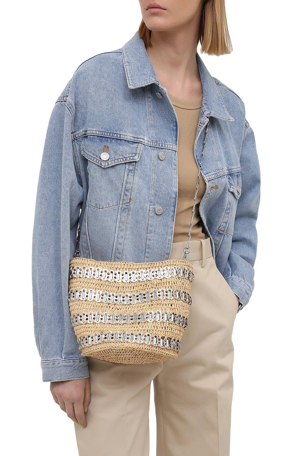 Женская сумка 1969 PACO RABANNE бежевого цвета, арт. 21PSS0227MET152 | Фото 2 (Сумки-технические: Сумки через плечо; Ремень/цепочка: С цепочкой, На ремешке; Материал: Растительное волокно; Размер: mini)