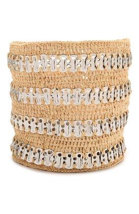Женская сумка 1969 PACO RABANNE бежевого цвета, арт. 21PSS0227MET152 | Фото 3 (Сумки-технические: Сумки через плечо; Ремень/цепочка: С цепочкой, На ремешке; Материал: Растительное волокно; Размер: mini)