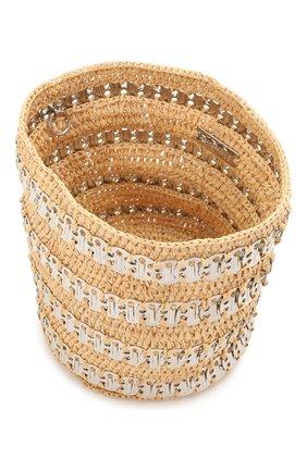 Женская сумка 1969 PACO RABANNE бежевого цвета, арт. 21PSS0227MET152 | Фото 4 (Сумки-технические: Сумки через плечо; Ремень/цепочка: С цепочкой, На ремешке; Материал: Растительное волокно; Размер: mini)