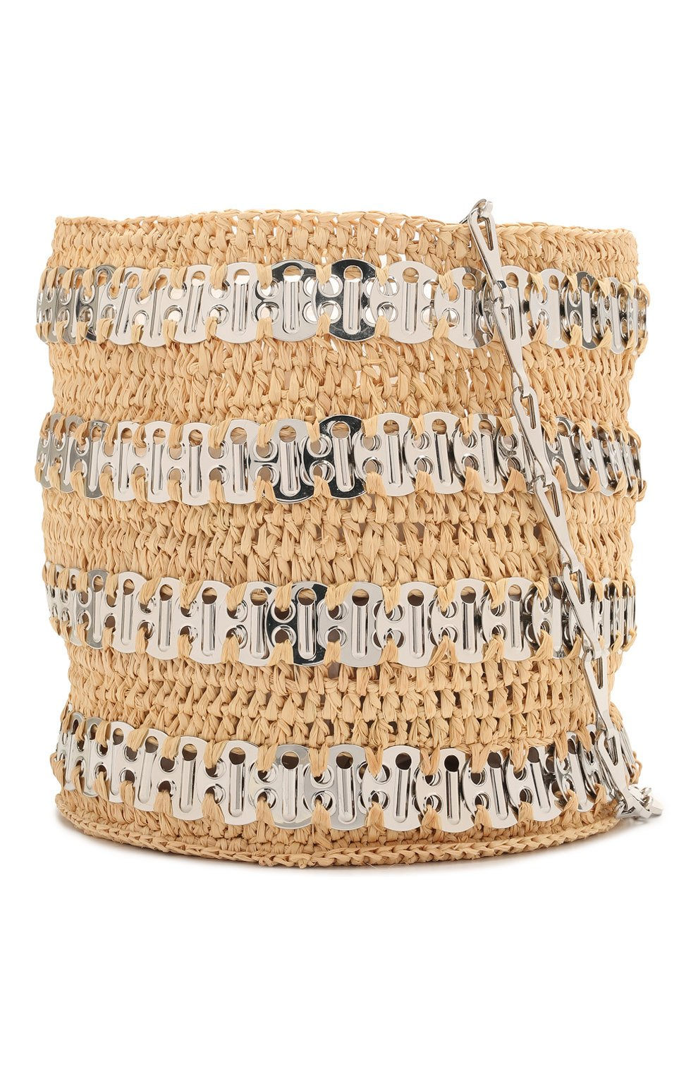 Женская сумка 1969 PACO RABANNE бежевого цвета, арт. 21PSS0227MET152 | Фото 5 (Сумки-технические: Сумки через плечо; Ремень/цепочка: С цепочкой, На ремешке; Материал: Растительное волокно; Размер: mini)