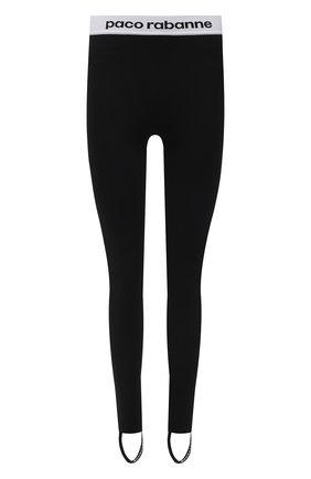 Женские леггинсы со штрипками PACO RABANNE черного цвета, арт. 19EJPA002VI0071 | Фото 1