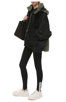 Женские леггинсы со штрипками PACO RABANNE черного цвета, арт. 19EJPA002VI0071 | Фото 2