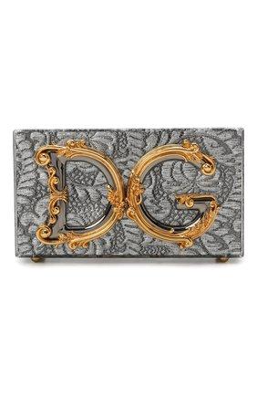 Женская сумка dg girls DOLCE & GABBANA серебряного цвета, арт. BB6942/A0001   Фото 1 (Материал: Металл; Сумки-технические: Сумки через плечо; Ремень/цепочка: С цепочкой, На ремешке; Размер: mini; Женское Кросс-КТ: Вечерняя сумка)