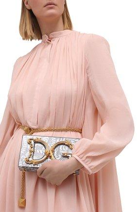 Женская сумка dg girls DOLCE & GABBANA серебряного цвета, арт. BB6942/A0001   Фото 2 (Материал: Металл; Сумки-технические: Сумки через плечо; Ремень/цепочка: С цепочкой, На ремешке; Размер: mini; Женское Кросс-КТ: Вечерняя сумка)