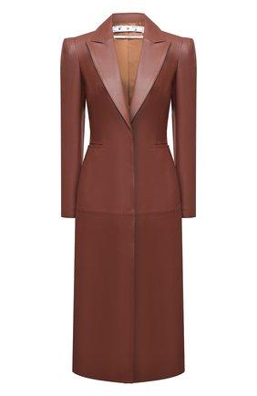 Женское кожаное пальто OFF-WHITE коричневого цвета, арт. 0WJA045S21LEA003   Фото 1