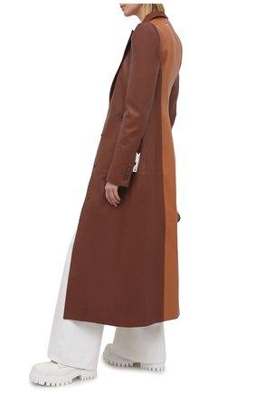 Женское кожаное пальто OFF-WHITE коричневого цвета, арт. 0WJA045S21LEA003   Фото 2