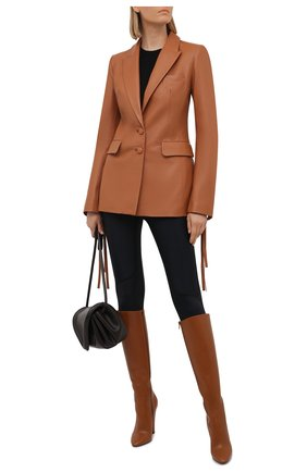 Женский кожаный жакет OFF-WHITE светло-коричневого цвета, арт. 0WJA042S21LEA001 | Фото 2