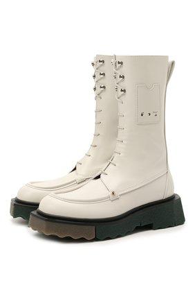 Женские кожаные ботинки OFF-WHITE белого цвета, арт. 0WIE009S21LEA0010300 | Фото 1 (Подошва: Платформа; Материал внутренний: Натуральная кожа; Женское Кросс-КТ: Военные ботинки; Каблук высота: Низкий)